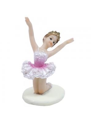 Bailarina Rosa Agachada Ambos Braços Levantados 9cm - Enfeite Resina