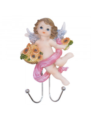 Ganchos Anjinho segurando cesta flores 13cm - Enfeite resina