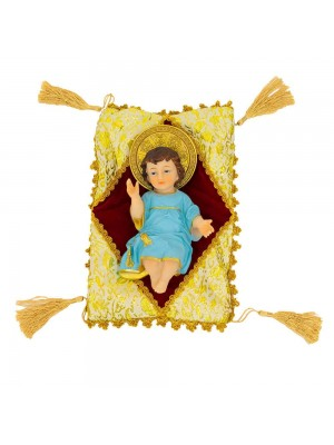 Menino Jesus Roupa Azul Na Almofada 20cm - Enfeite Resina