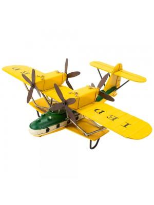 Avião Amarelo De Hélice 12x28x35.5cm Estilo Retrô - Vintage