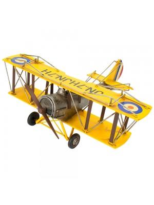 Avião Amarelo De Hélice 17x38x45cm Estilo Retrô - Vintage