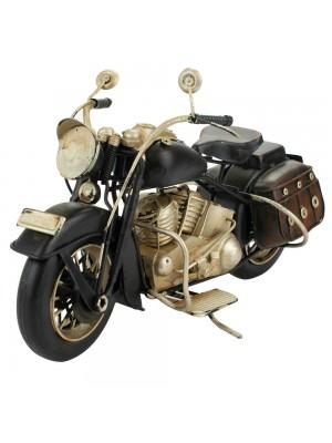 Motocicleta Preta 24x26x10cm Estilo Retrô - Vintage