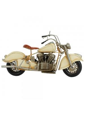 Motocicleta Branca 20x35x14cm Estilo Retrô - Vintage
