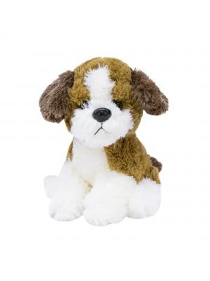 Cachorro Filhote Sentado Marrom Com Branco 20cm - Pelúcia
