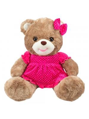 Urso Sentado Marrom Vestido Laço Pink 47cm - Pelúcia