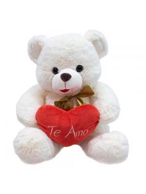 Urso Branco Coração Te Amo 50cm - Pelúcia