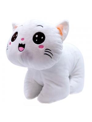 Gato Branco Olhos Abertos 21cm - Pelúcia