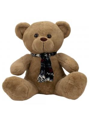 Urso Marrom Sentado Cachecol 40cm - Pelúcia
