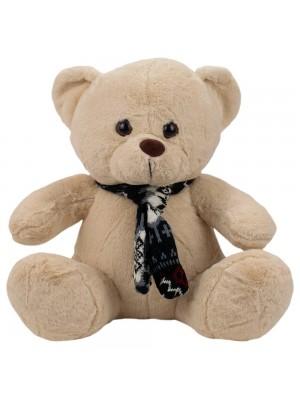Urso Bege Sentado Cachecol 23cm - Pelúcia