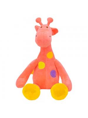 Girafa Rosa Pintas Coloridas 47cm - Pelúcia