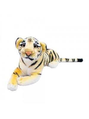 Tigre Realista Deitado 32cm - Pelúcia Enfeite