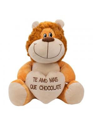 Leão Sentado Te Amo Mais Que Chocolate 27cm - Pelúcia