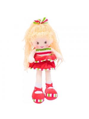 Boneca Laço Cabelo Saia Vermelha 40cm