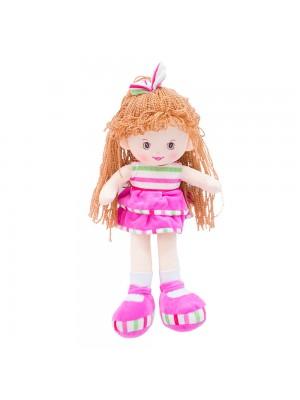 Boneca Laço Cabelo Saia Pink 40cm