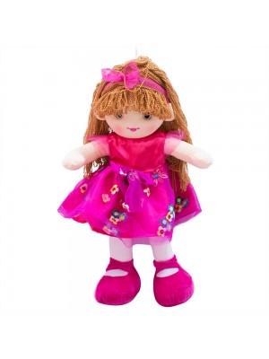 Boneca Vestido Pink Cabelo Castanho Claro Encaracolado 59cm