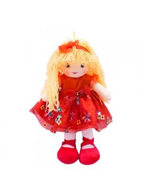 Boneca Vestido Vermelho Cabelo Laranja Encaracolado 59cm