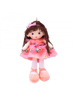 Boneca Vestido Rosa Cabelo Castanho Escuro Encaracolado 46cm