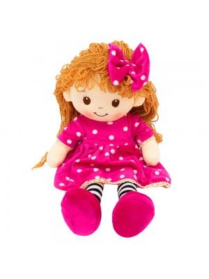 Boneca Vestido Pink Cabelo Cacheado 48cm