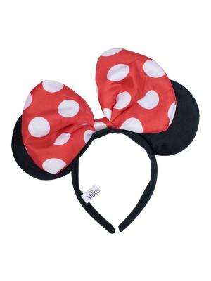 DYD101TR-MK1-D | Tiara Com Orelhas Minnie E Laço Vermelho Com Pontos Brancos - Disney