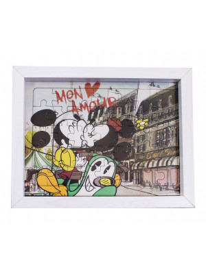 "PORTA RETRATO QUEBRA MICKEY & MINNIE PARIS ""MON AMOUR"" 15X19CM - DISNEY"