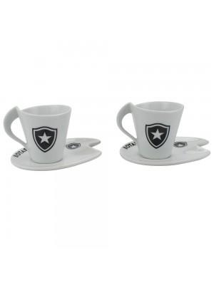 Jogo Com 2 Xícaras De Porcelana 90ml - Botafogo