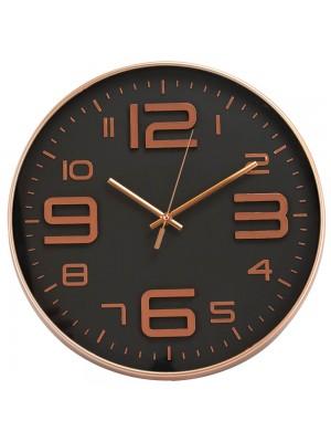 Relógio Parede Redondo Rosê Preto 34x34cm