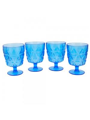 Jogo 4 Taças Azuis Acrílico 260ml