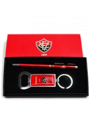 JY1023-11-B | Jogo Caneta Roller Ball Touchscreen Com Chaveiro Abridor De Garrafa - Vitória