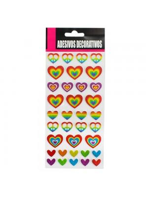 Adesivo Decorativo Coração Colorido 24x10cm