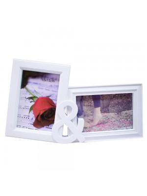 Porta Retrato Branco & 2 Fotos 10x15cm - Turma Da Mônica