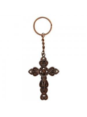 Chaveiro Crucifixo Bronzeado 13cm