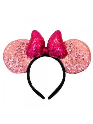 Tiara Laço Roxo Orelhas Rosa Minnie Lantejoulas - Disney