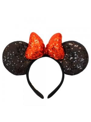 Tiara Laço Vermelho Orelhas Minnie Lantejoulas - Disney