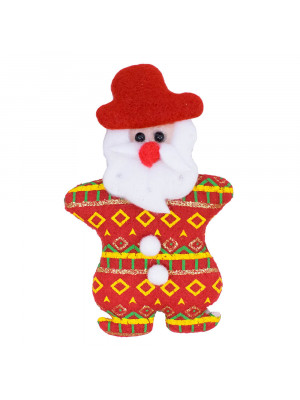 Ímã Geladeira Papai Noel 2 Botões Brancos 14cm - Enfeite Natalino