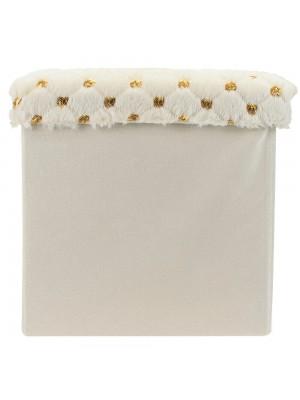 Banquinho Organizador Cubo Branco 33x35cm
