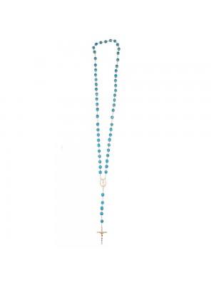 Terço Corrente Dourada Contas Azuis Nossa Senhora Aparecida 57cm
