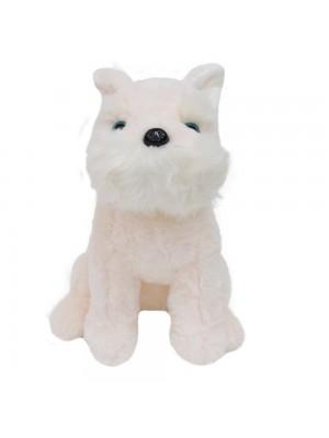 Cachorro Branco Schnauzer Sentado 30cm - Pelúcia