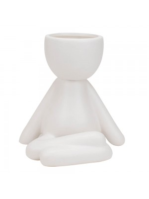Vaso Branco Cerâmica Boneco Sentado 12x9x12cm