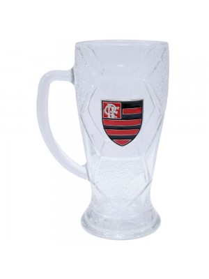 Caneca Vidro Bola Futebol 630ml - Flamengo