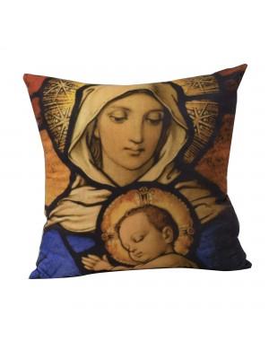 ALMOFADA QUADRICULADA MARIA E MENINO JESUS 39X39CM (FIBRA)