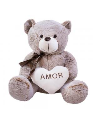 Urso Coração Amor Marrom Acinzentado 75cm - Pelúcia