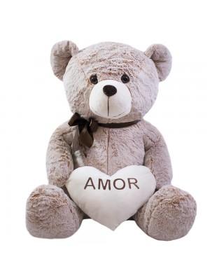 Urso Coração Amor Marrom Alaranjado 60cm - Pelúcia