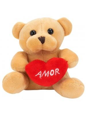 Chaveiro Urso Bege Coração Amor 12cm - Pelúcia