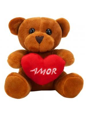 Chaveiro Urso Marrom Claro Coração Amor 12cm - Pelúcia