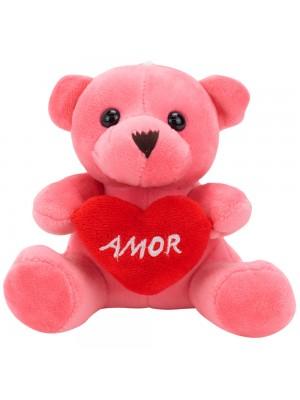 Chaveiro Urso Rosa Coração Amor 12cm - Pelúcia