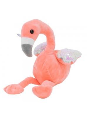 Flamingo Rosa Asas Lantejoulas 18cm - Pelúcia