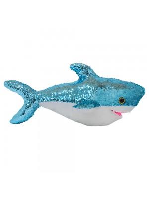 Tubarão Lantejoulas Azul Prateado 56cm - Pelúcia
