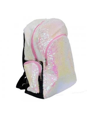 Mochila Lantejoulas Branco/Rosa 40x17x40cm