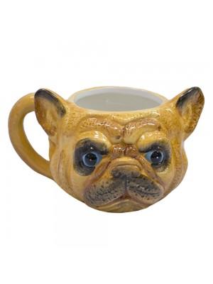 Caneca de porcelana rosto cachorro Pug francês marrom 470ml