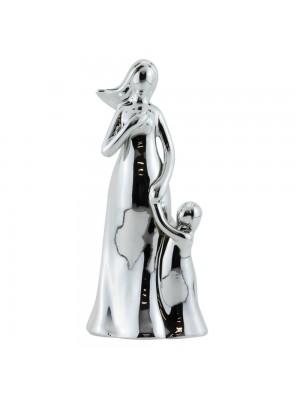 Mãe Criança Porcelana Prateado Modelo C 17cm